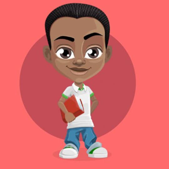 One benefit of the 9ijakids educational games for kids. Eliminates stress of marking worksheets depicted by a black kid holding a red book with one hand