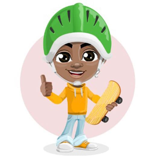 One benefit of the 9ijakids educational games for kids. Focuses on total development depicted by a kid wearing a green helmet holding a surf board with one and thumbing up with the second hand