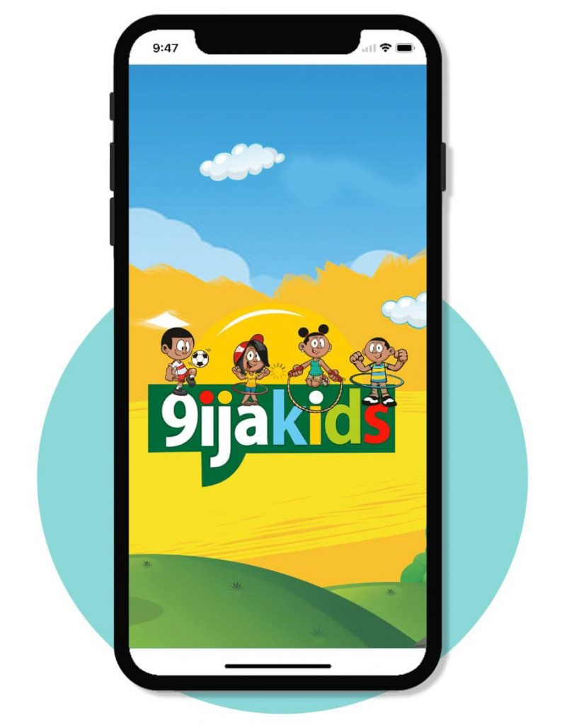 Phone illustration of the 9ijakids educational games for kids on a mobile phone